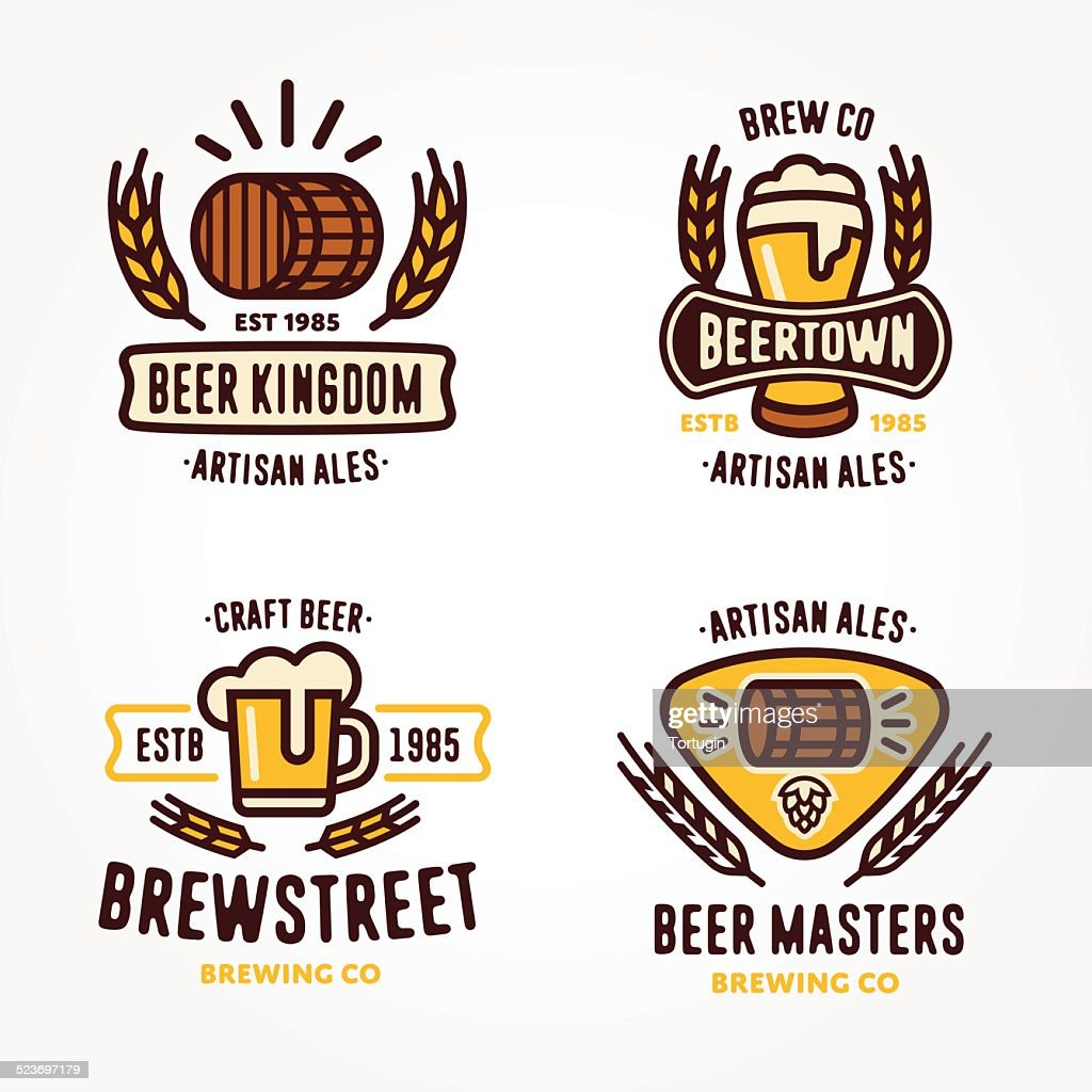 Set of beer logo design elements