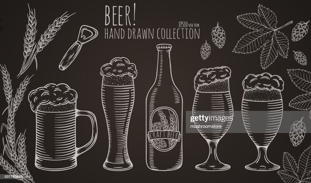 Set of beer objects.