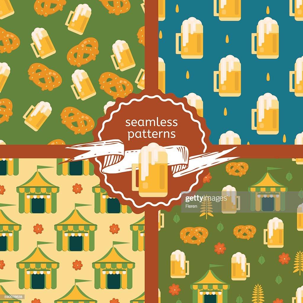 Set of beer theme patterns.