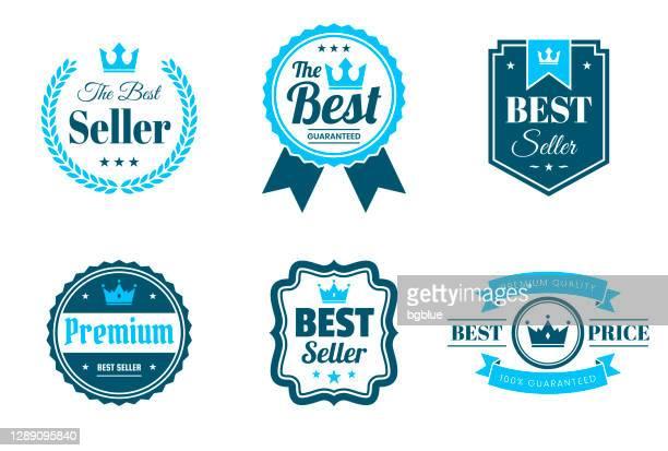 「ベスト」ブルーバッジとラベルのセット - デザイン要素 - メダル点のイラスト素材/クリップアート素材/マンガ素材/アイコン素材