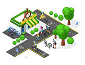 set of bicycle infrastructure. Velo tracks, bicycling, bicycle shop. Isometry 3d