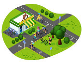 set of bicycle infrastructure. Velo tracks, bicycling, bicycle shop, bike repair. Isometry 3d