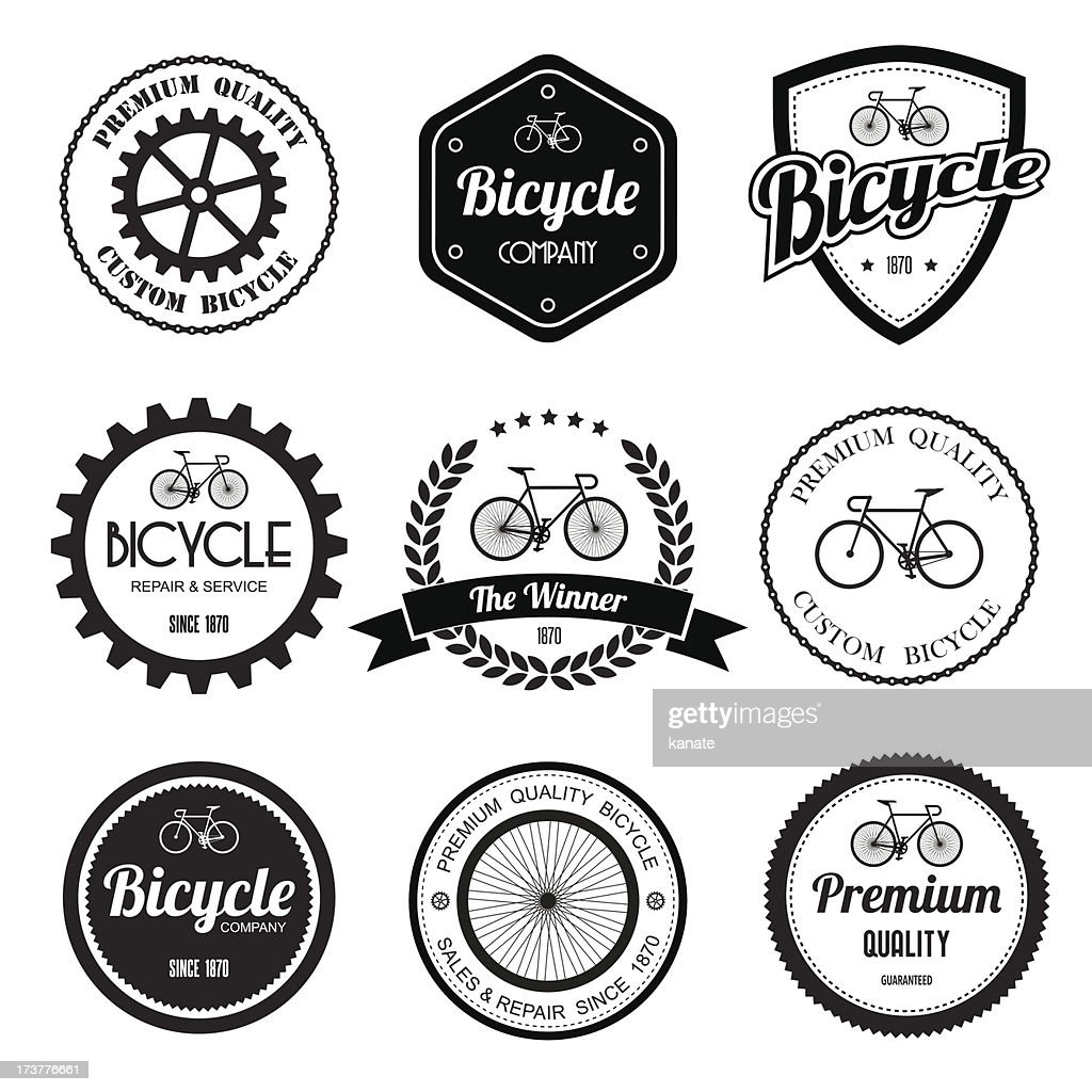 Set of  bicycle retro vintage badges and labels.