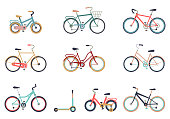 Set of bicycles in a flat style isolated on white background. Bike for man, woman, boy, girl. Bike icon vector.