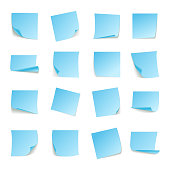 Set of big collection paper curled corners  white sheet. Vector