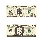 Set of bill one hundred dollars in flat style, isolated on white.