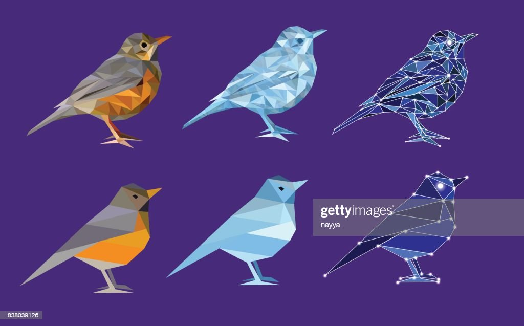 Set of birds in polygon style.