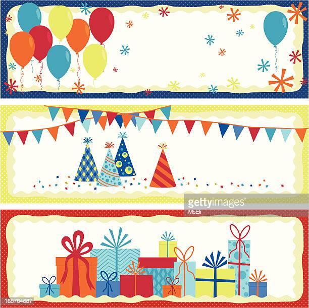 誕生日のバナーの設定します。 - 誕生日の贈り物点のイラスト素材/クリップアート素材/マンガ素材/アイコン素材