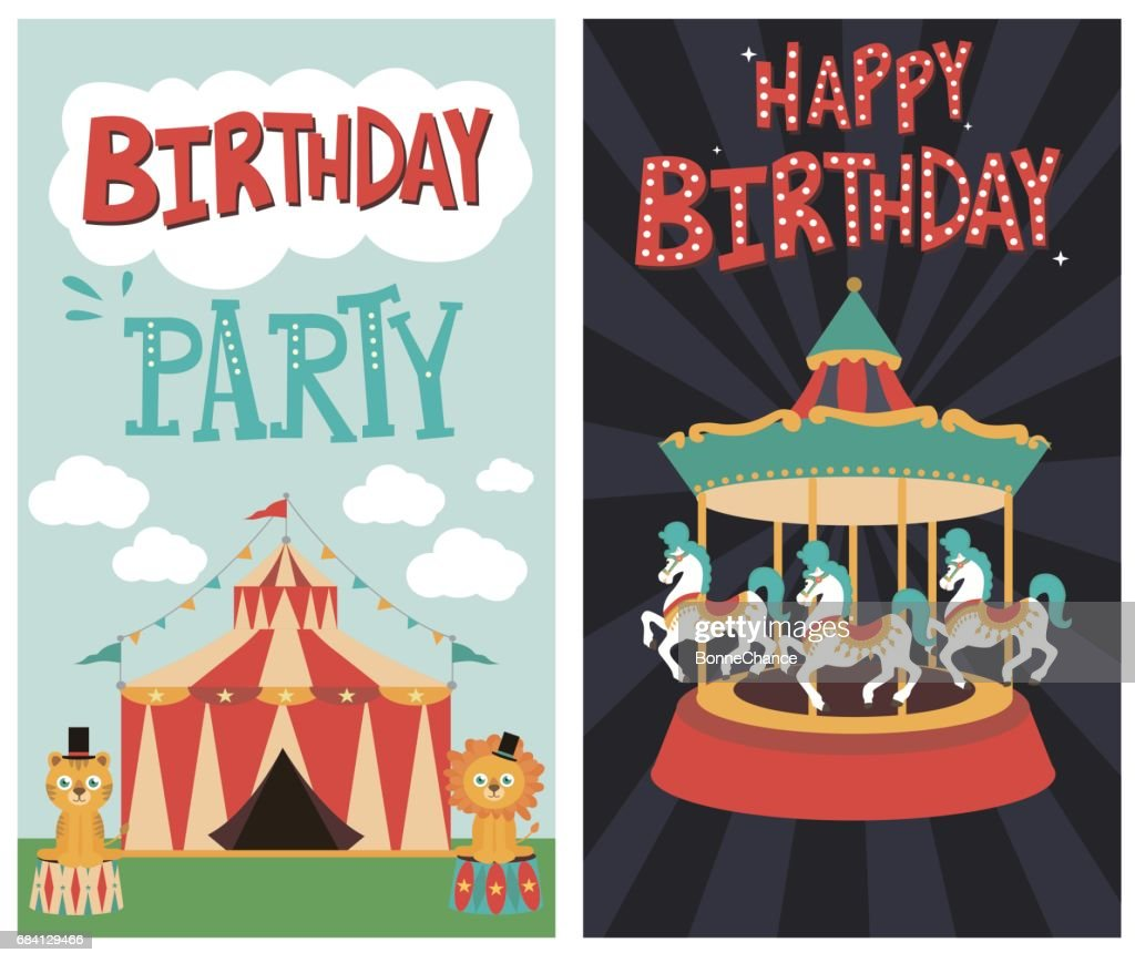 Set of birthday card with circus theme