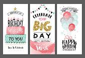Set of birthday greeting cards design