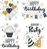 Set of birthday greeting cards.