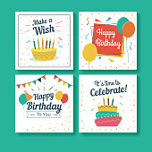 Set of Birthday Greeting Cards