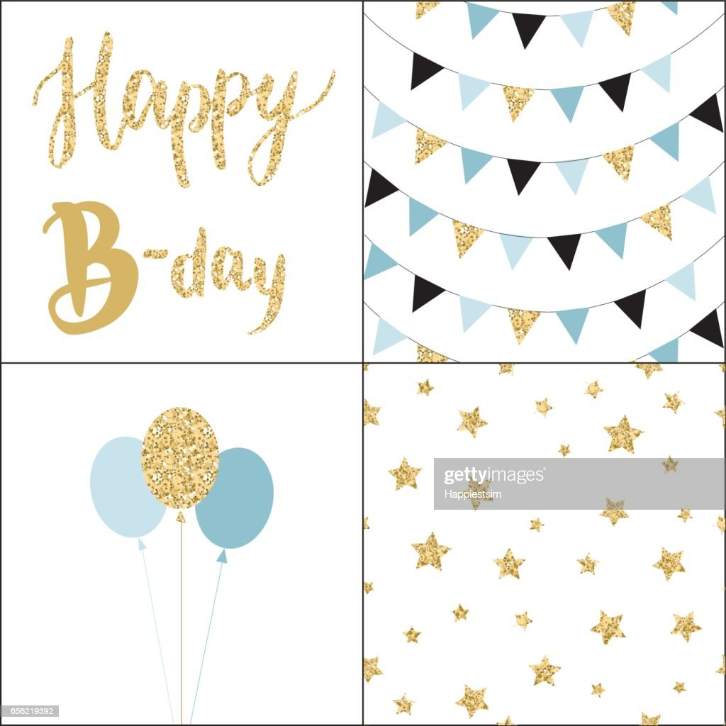 Set of Birthday party cards and seamless pattern backgrounds.