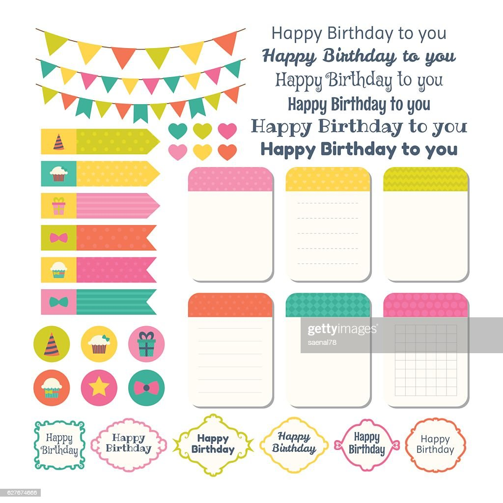 Set of Birthday party design elements. Template for notebooks