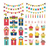 Set of birthday party or Christmas design elements