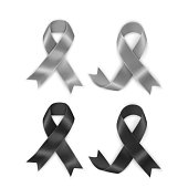 Set of Black and gray awareness ribbons on white background. Mourning and melanoma symbol