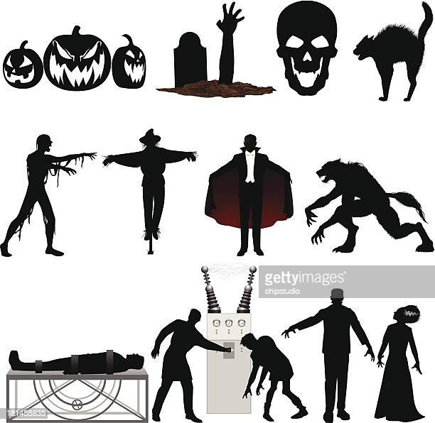 set of black and red halloween illustrations on a white - halloween cats stock illustrations