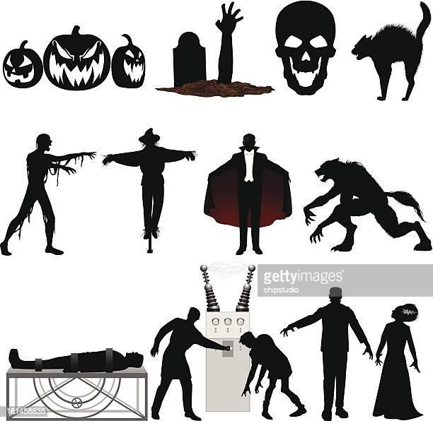 ilustrações de stock, clip art, desenhos animados e ícones de dia das bruxas silhueta - frankenstein
