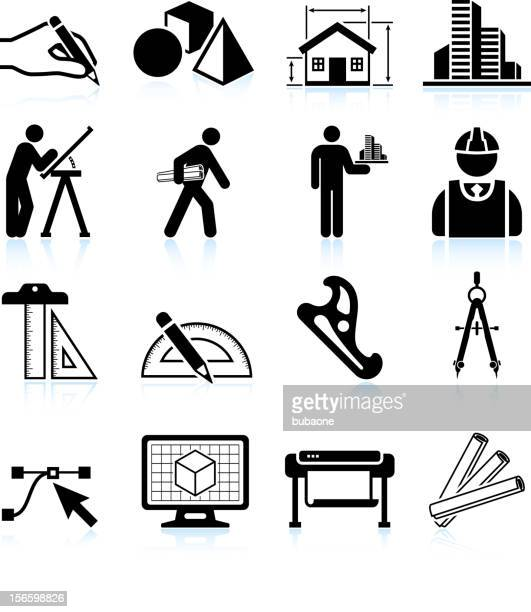 stockillustraties, clipart, cartoons en iconen met set of black and white architecture icons - architect