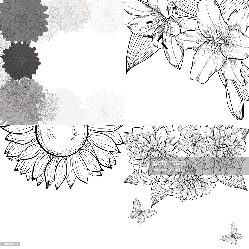 set of black and white background, frame of flowers