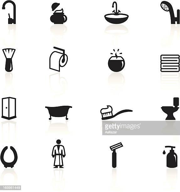illustrations, cliparts, dessins animés et icônes de ensemble d'icônes en noir et blanc de la salle de bains - cuvette des toilettes