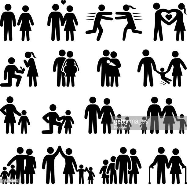 set of black and white family life icons - mature adult stock illustrations
