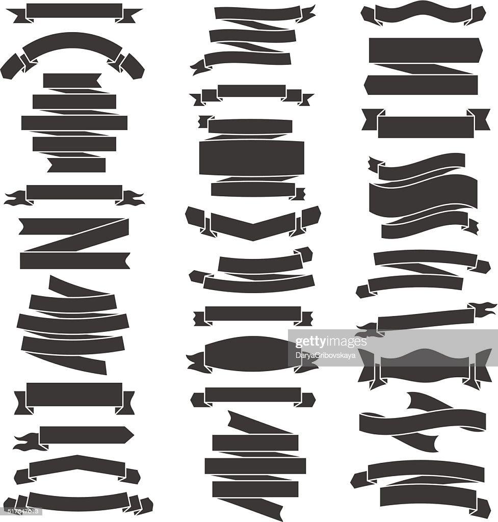 Set of black and white flat ribbons. Vector illustration