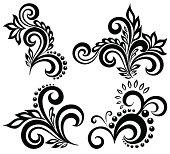 set of black and white floral elements