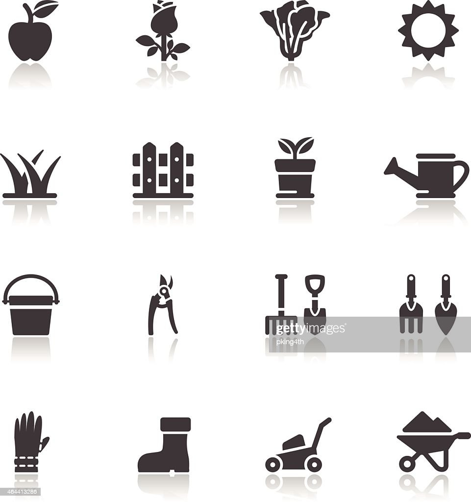 A set of black and white gardening icons