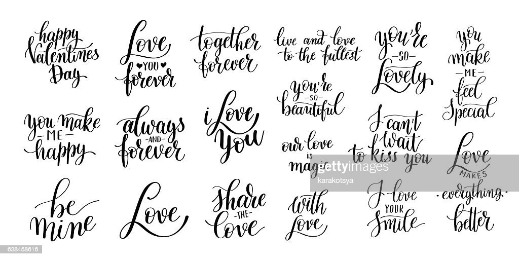 set of black and white hand written lettering about love