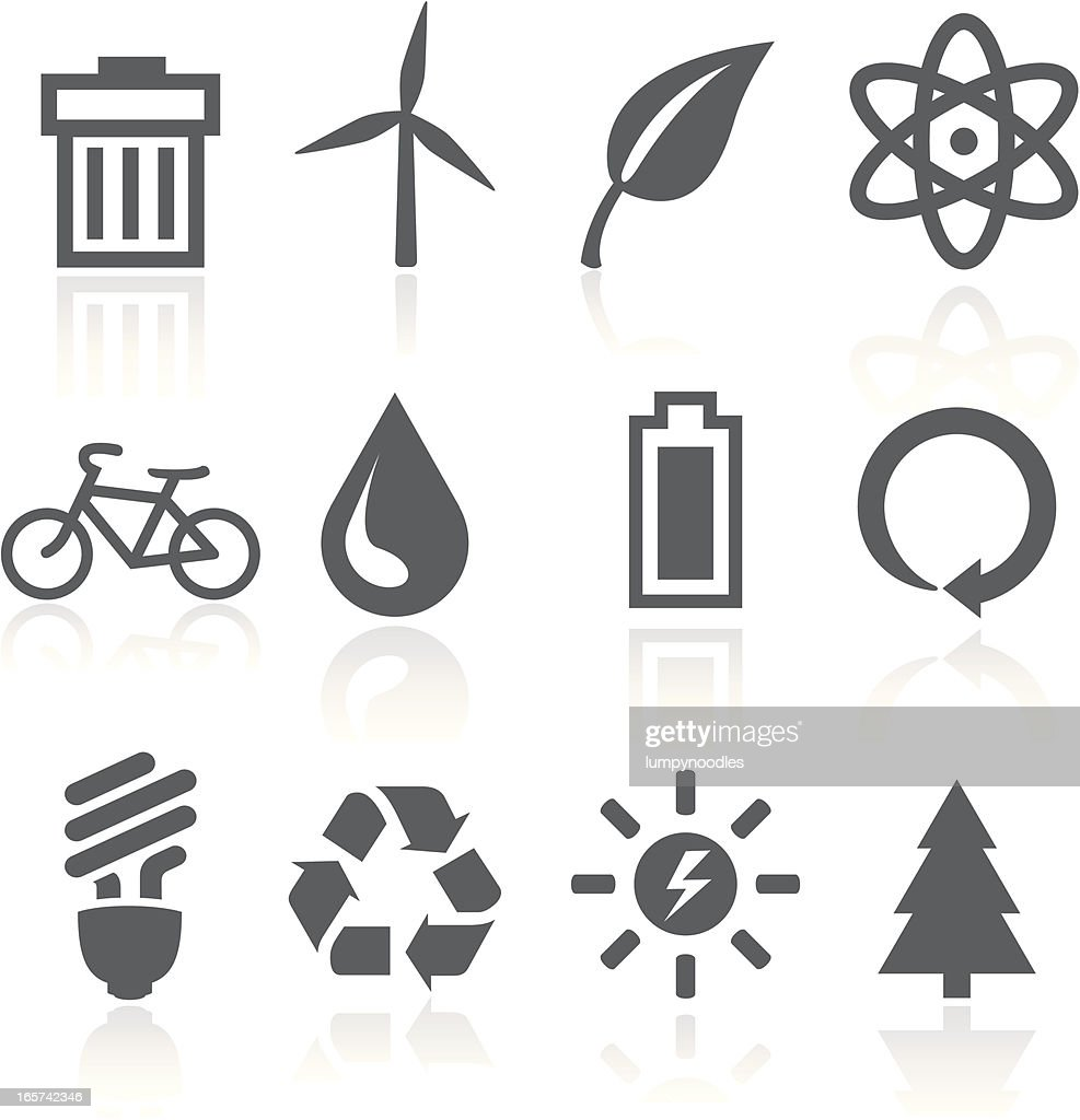 A set of black and white icons with a green energy theme