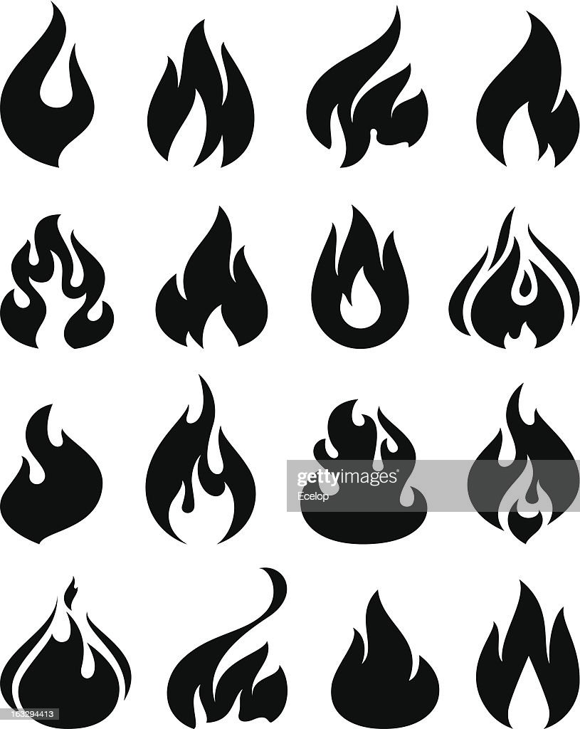 Set of black and white icons with flames