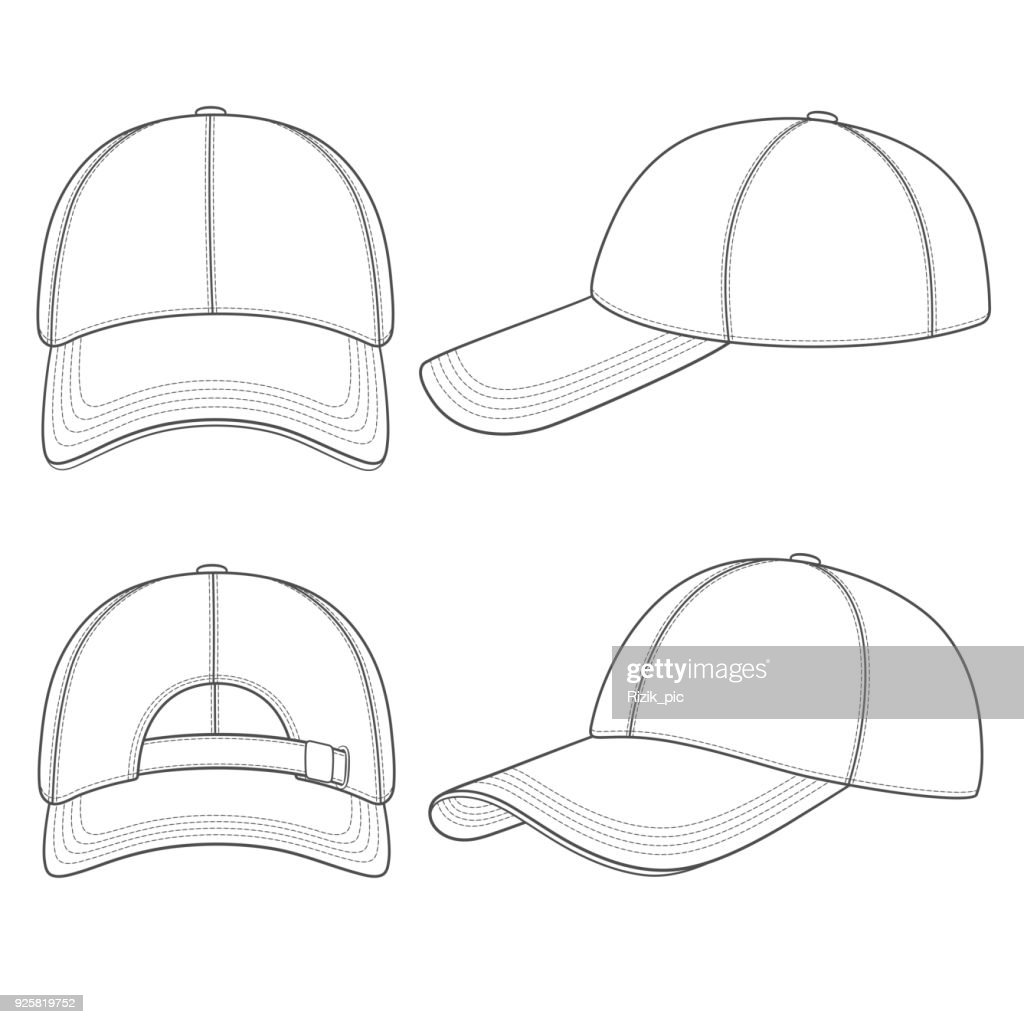 Set of black and white illustrations with a baseball cap. Isolated vector objects.