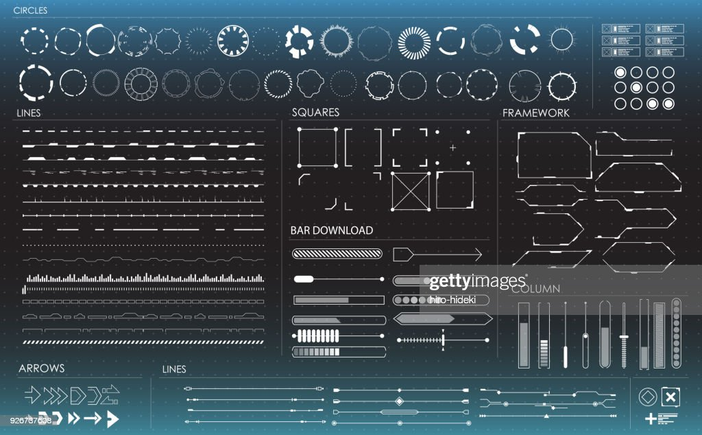 set of black and white infographic elements. Head-up display elements for the web and app. Futuristic user interface