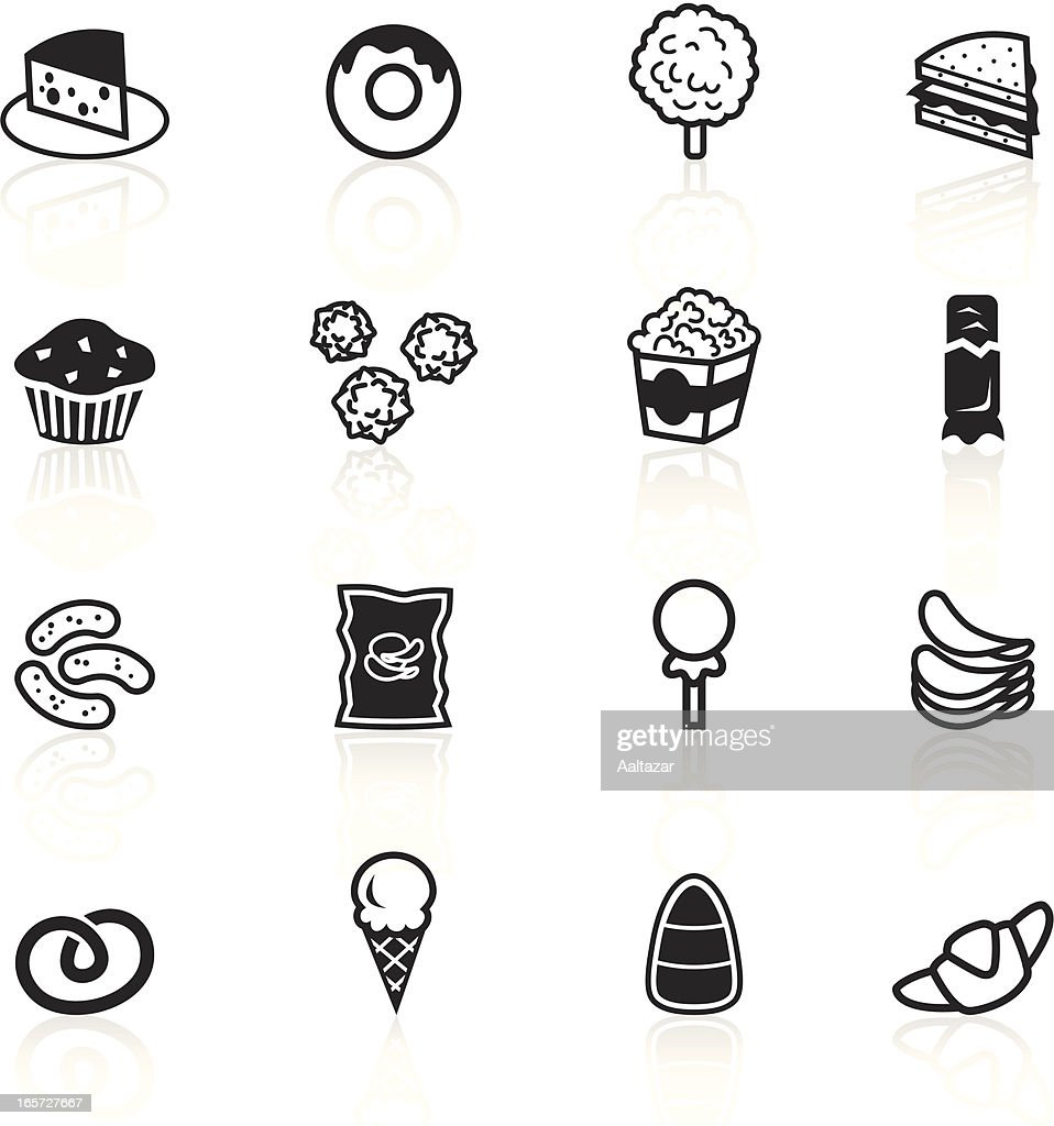 Set of black and white junk food icons