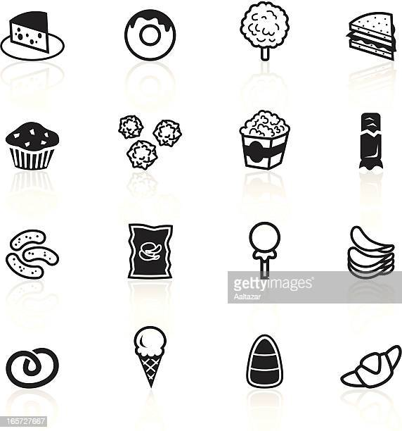 set of black and white junk food icons - toasted sandwich stock illustrations, clip art, cartoons, & icons