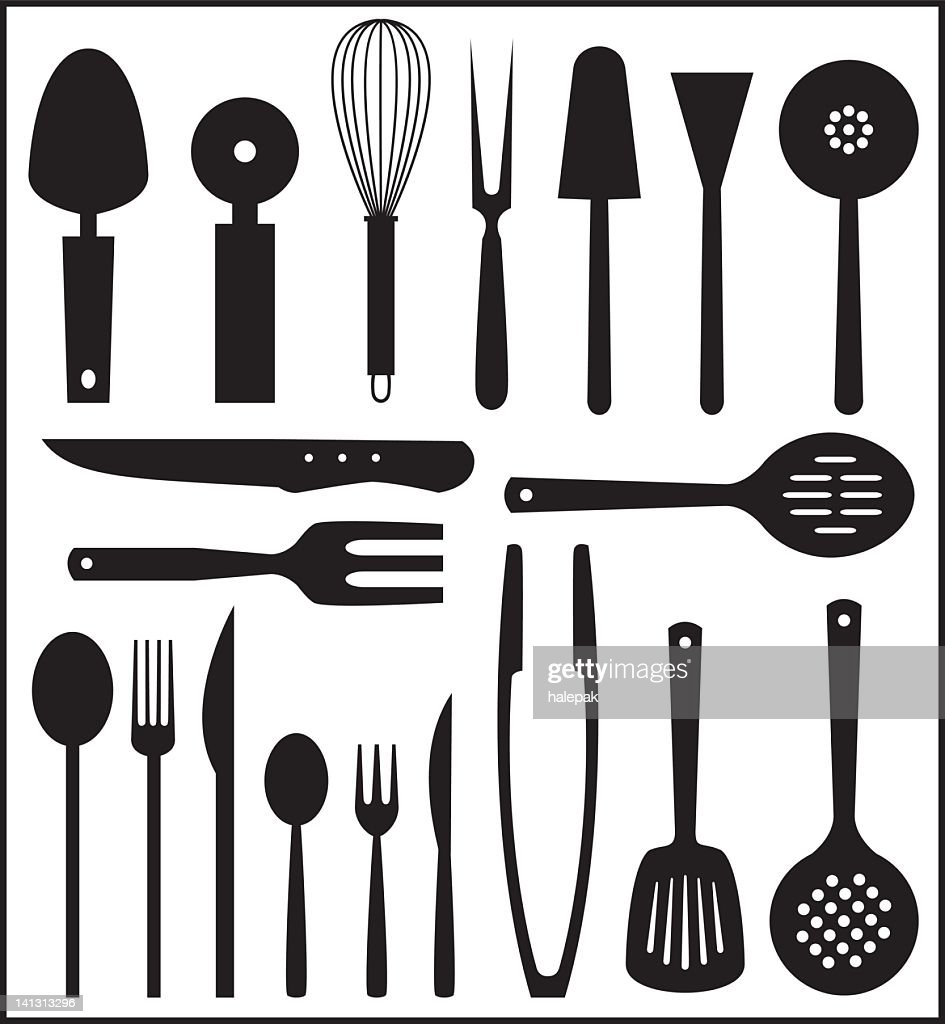 Set Of Black And White Kitchen Utensils Vector Art | Getty Images