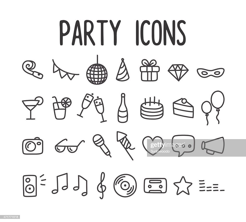 Set of black and white line drawn party icons