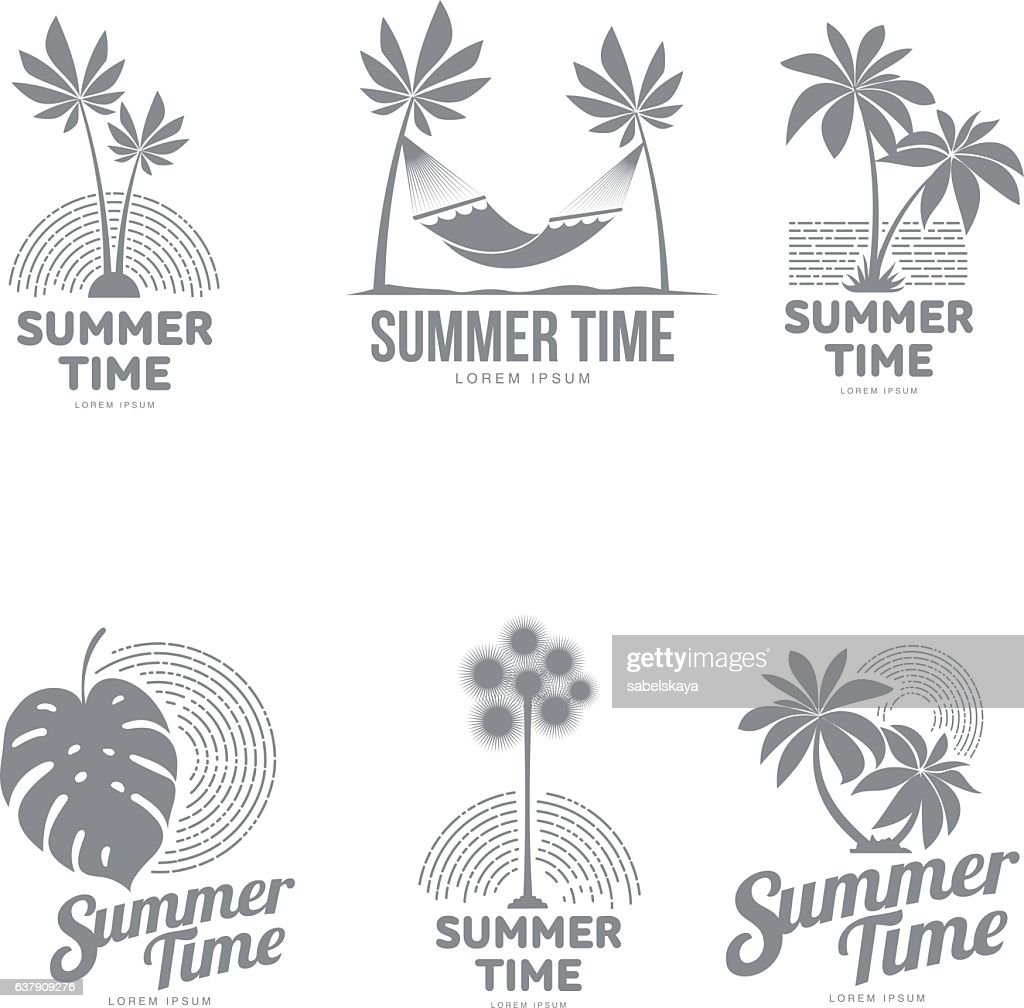 Set of black and white logo templates with palm tree