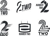 Set of black and white number two logo templates