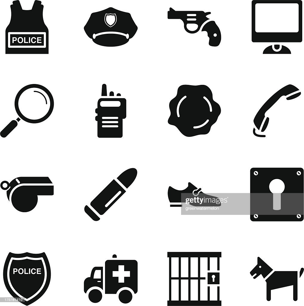 A set of black and white police icons on a white background