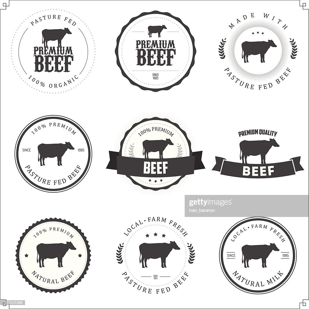 Set of black and white premium beef labels