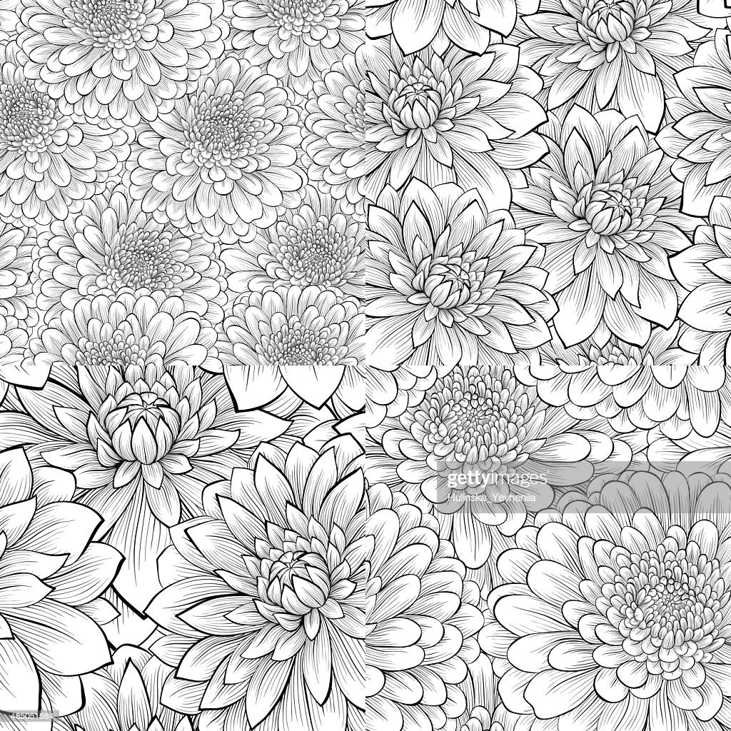 set of black and white seamless pattern with flowers.