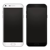 Set of black and white smart phone with empty screen to present your app, design. Vector illustration.