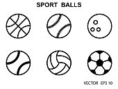 Set of black and white sports balls .Vector illustration.Flat style