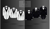 Set of black and white suits