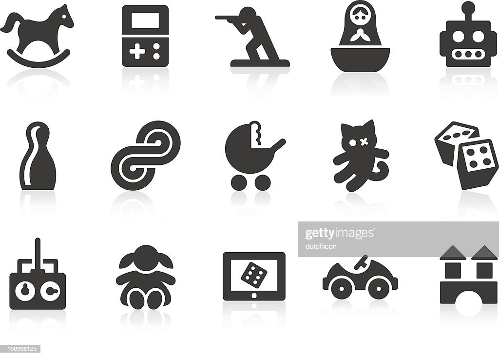 Set of black and white toy icons