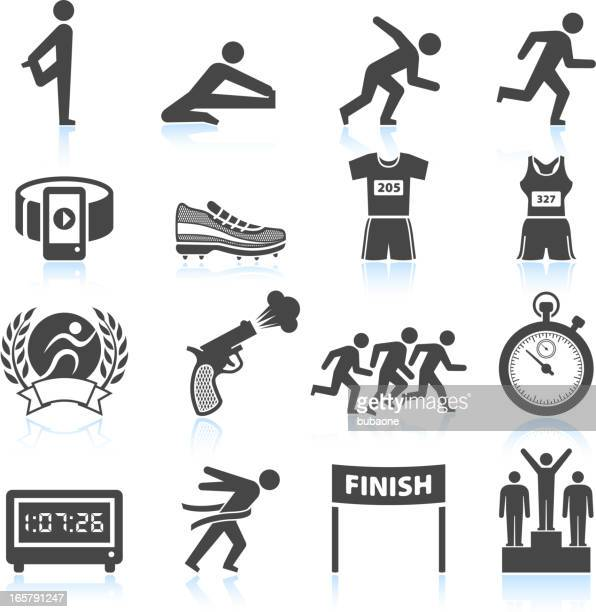 set of black and white track and field icons - sports race stock illustrations