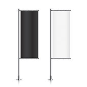 Set of black and white vetical banner flags.
