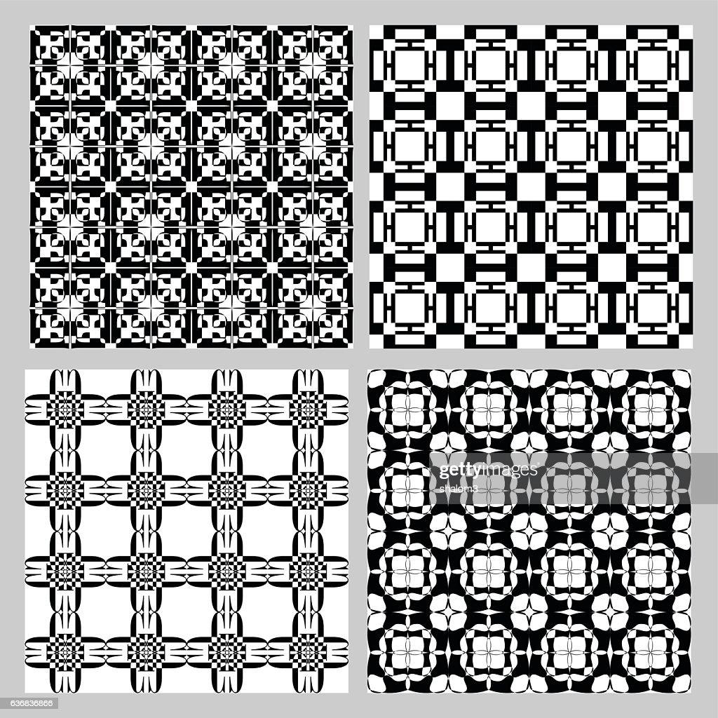 Set of black and white vintage patterns. Decorative tile collection